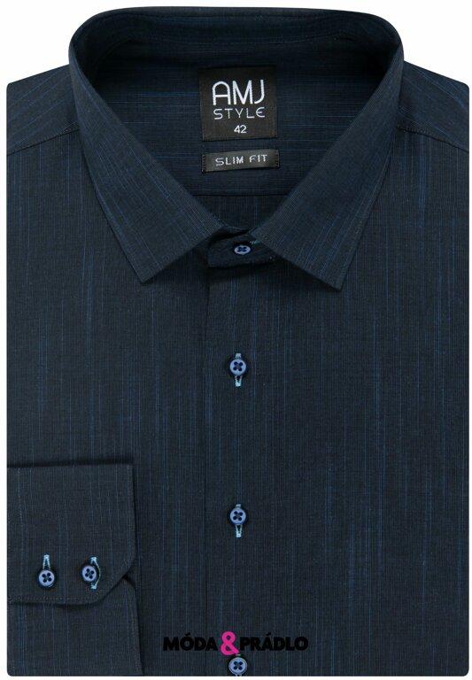 6e309d239b24 Pánska košeľa AMJ Style Slim VDS 329 nočné modrá - moda-pradlo.sk