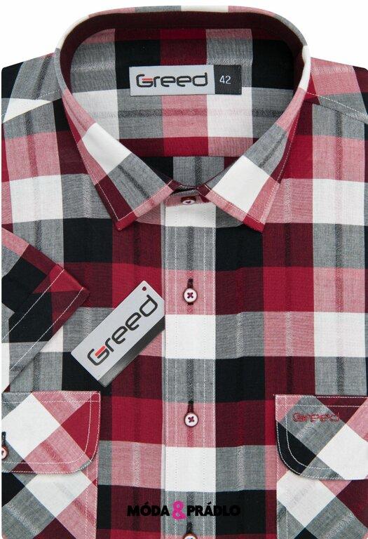 4352e850a809 Športová pánska košeľa AMJ Greed SK 362 červená kocka - moda-pradlo.sk