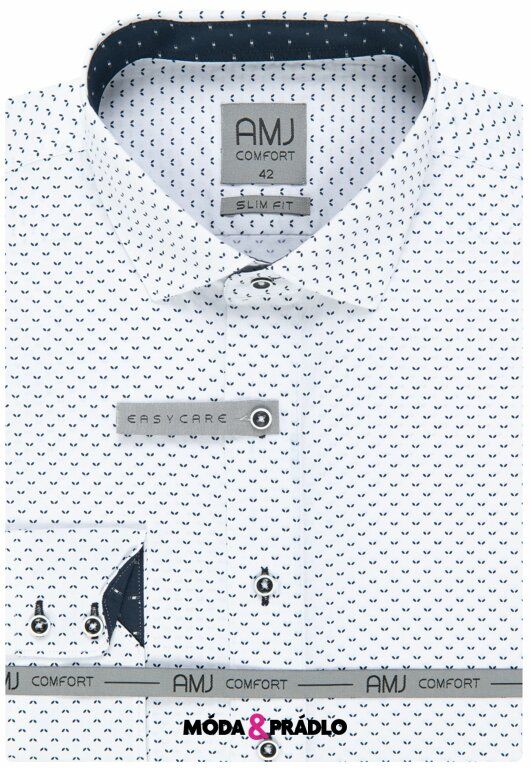 92345b6077cd Pánska košeľa AMJ Comfort VDSBR 1032 bielomodrá - moda-pradlo.sk