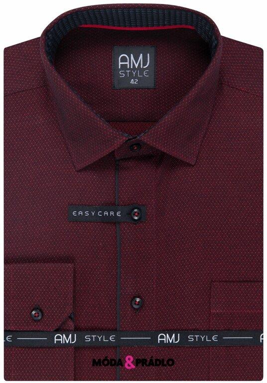 5d18deffb7d4 Pánská košeľa AMJ Style Slim VDSR 1003 tm.červená - moda-pradlo.sk