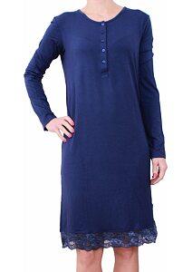 1c1b8a61b0c2 Nočná košeľa s dlhým rukávom Siélei tm. modrá
