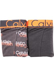 Boxerky Calvin Klein NU8643A Cotton Stretch čierno-orange 2 pack