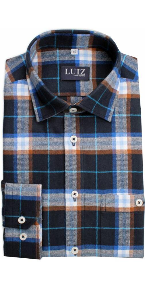 451d00674ebd Flanelová košeľa Luiz Bruno modrošedá kocka - moda-pradlo.sk